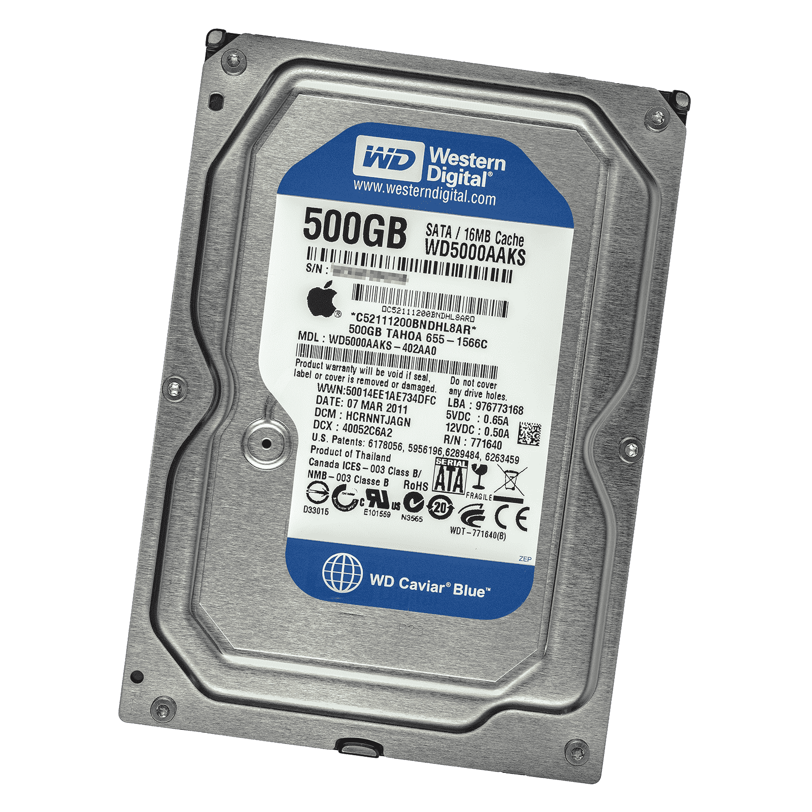 "Apple WD WD5000AAKS  655-1566A 500gb 3.5/"" Sata Hard Drive Western With Sensor"